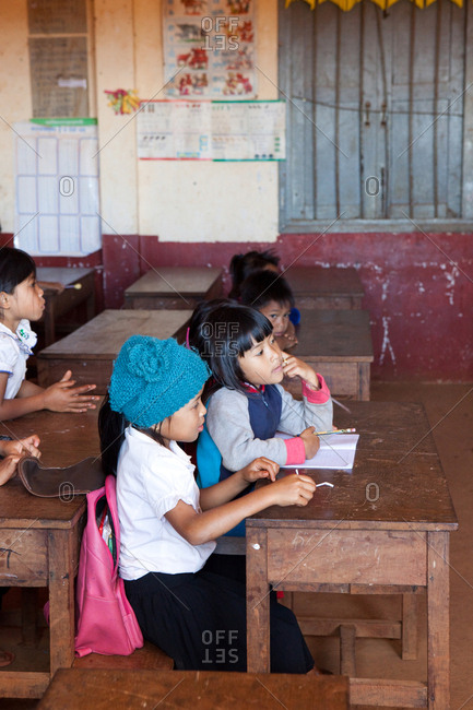Sen Monorom, Mondulkiri, Cambodia - January 25, 2017: Cambodian girls learning at school