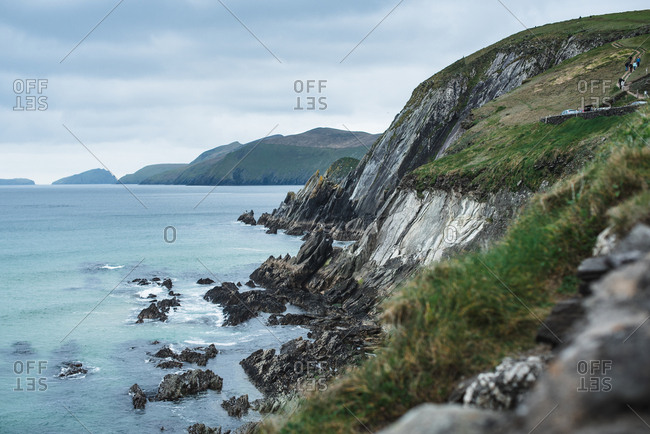 View of coastline in Ireland with cliffs at  the Dingle Peninsula