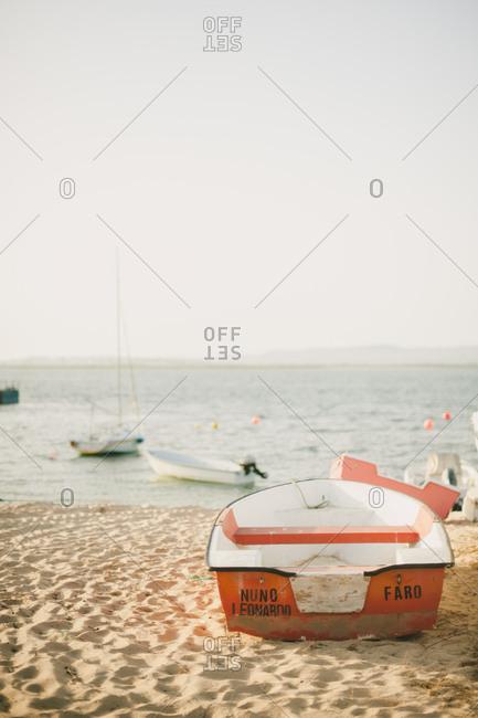 Algavre, Portugal - February 4, 2017: Boat on a beach
