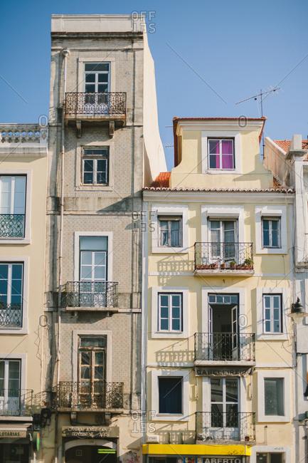 Lisbon, Portugal - October 15, 2015: Quaint apartment buildings