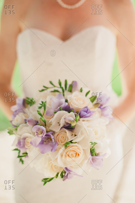 Bride holding bouquet of white roses and purple flowers stock bride holding bouquet of white roses and purple flowers stock images page everypixel mightylinksfo