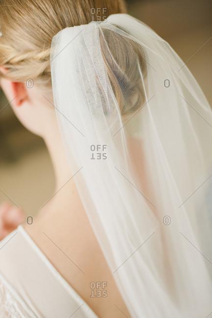 Back view of veil in bride's hair