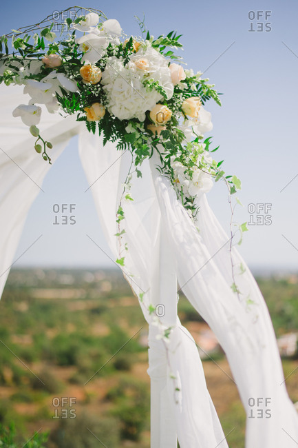 Floral decorations at outdoor wedding
