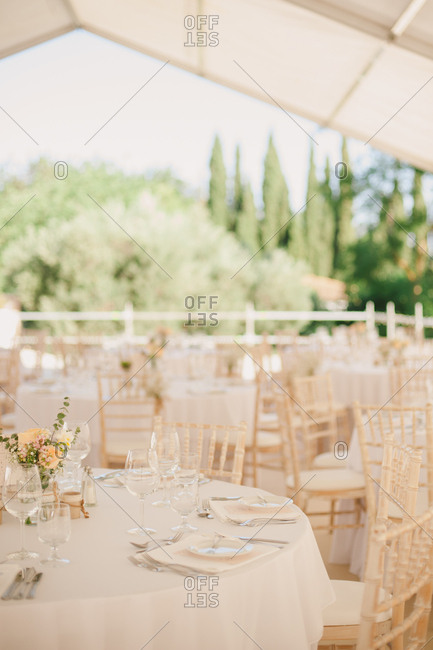 Tent set for outdoor wedding banquet