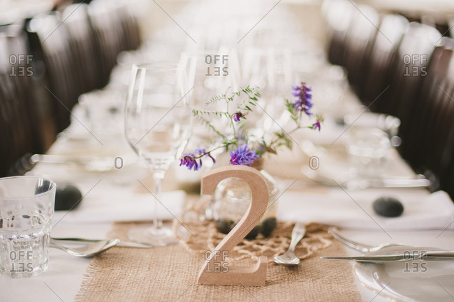 Banquet table with wooden table number