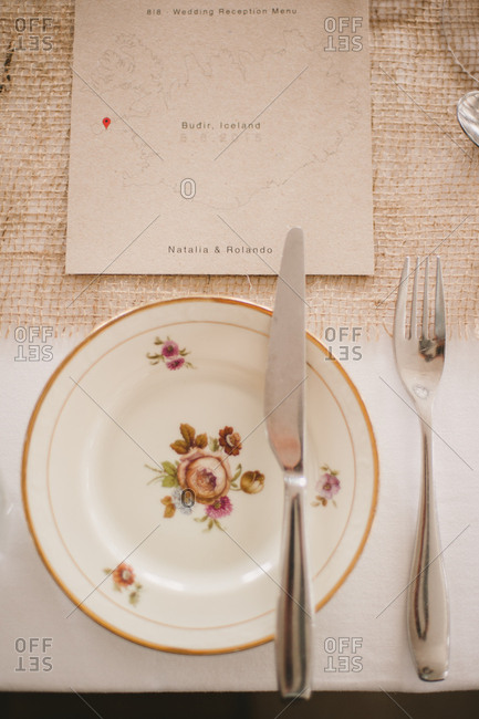 Place setting with printed menu card
