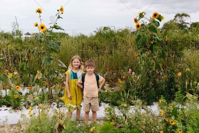 Two kids standing together in a flower garden