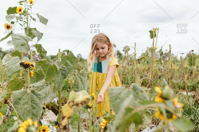 Blonde girl in a flower garden