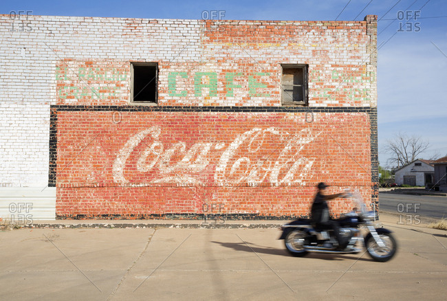 Littlefield, Texas, USA - April 11, 2017: Old signage on a building in Texas