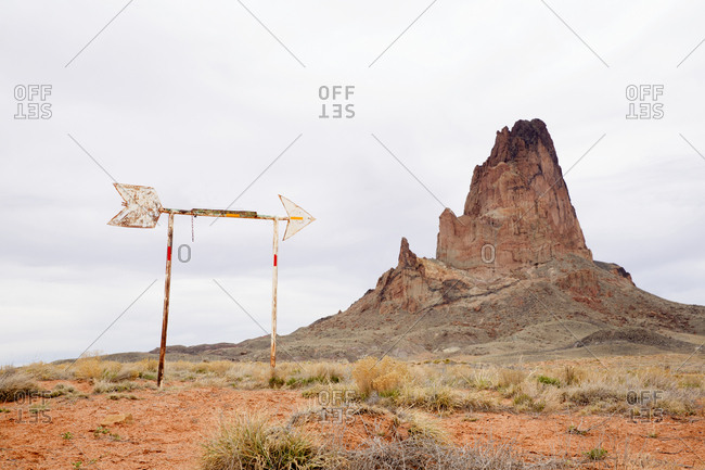 Arrow sign at Monument Valley, Utah