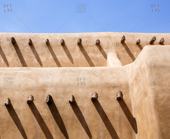 Detail of a Adobe building in Santa Fe, New Mexico