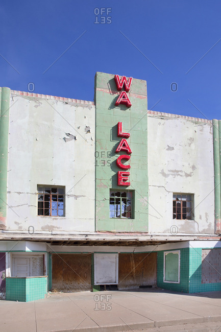 Muleshoe, Texas, USA - April 11, 2017: Abandoned movie theatre in Texas