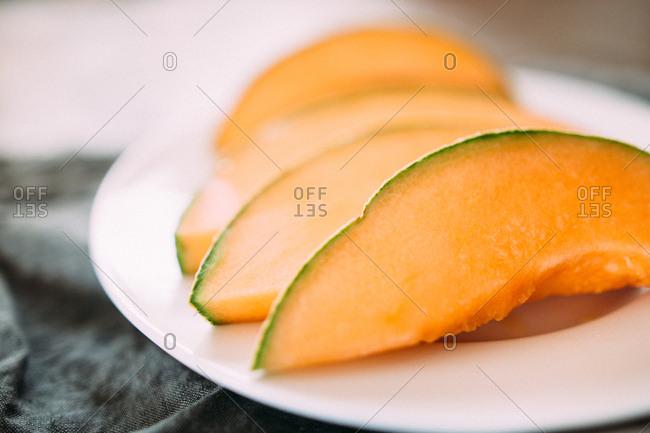 Cantaloupe  sliced on a plate