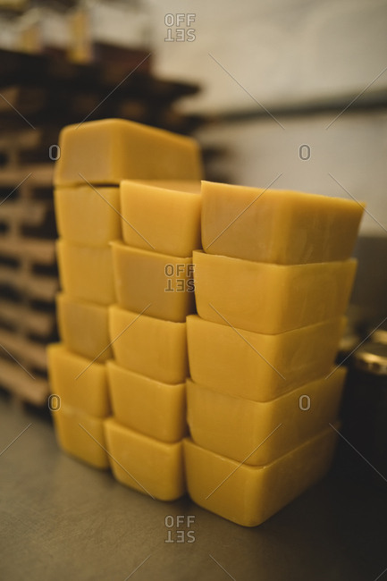 Close-up of beeswax bars in factory