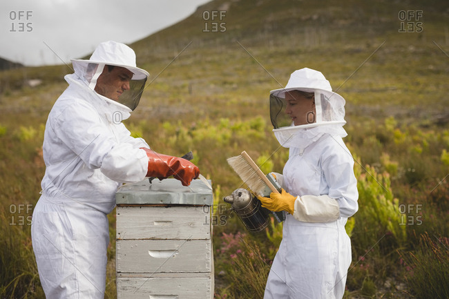 Male and female beekeepers working on beehive in apiary