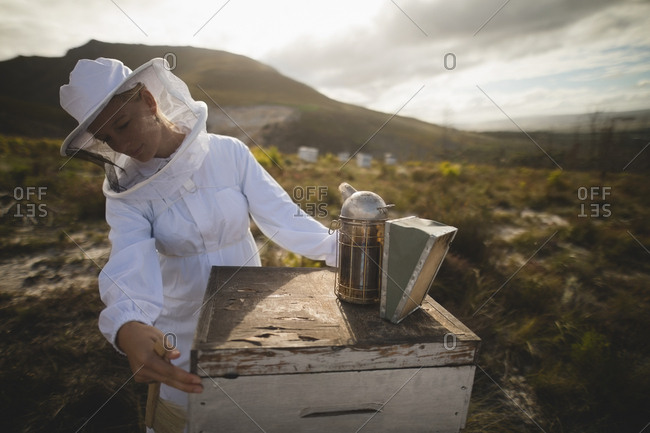 Female beekeeper examining beehive at apiary