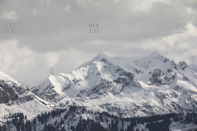 Snowy Swiss mountain peaks