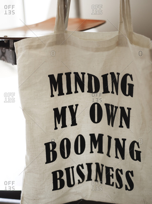 Amsterdam, Netherlands - June 15, 2012: Cloth bag with inspirational business message