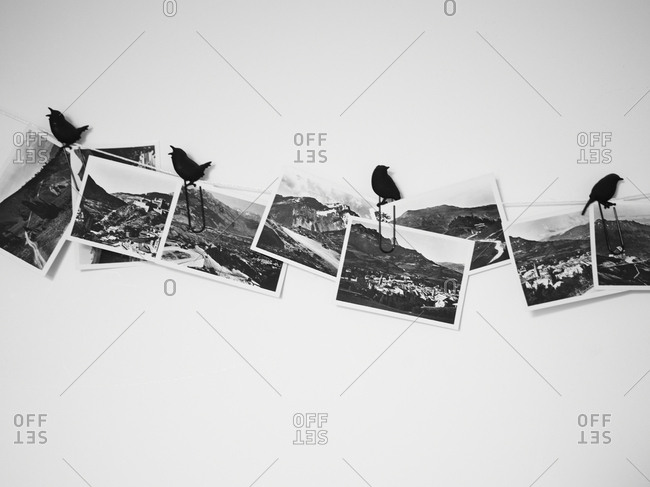 Amsterdam, Netherlands - June 15, 2012: Photographs hung with bird clips