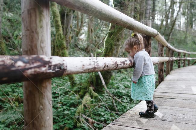 Girl leaning on rural walkway railing