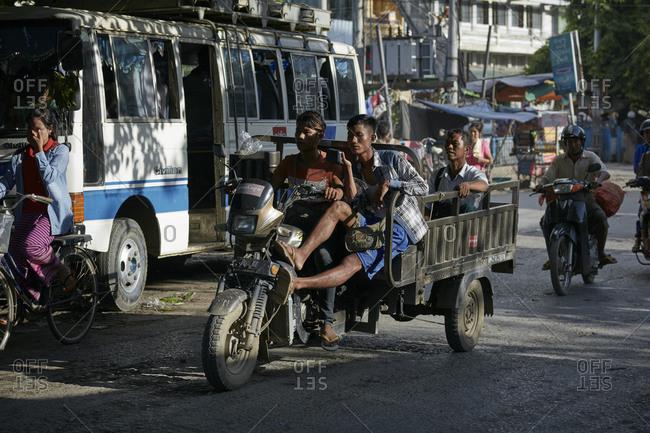 Mandalay, Myanmar - August 11, 2015: Street scene in Mandalay, Myanmar