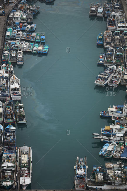 Su'ao, Taiwan - December 22, 2016: Aerial view of harbor in Su'ao, Taiwan