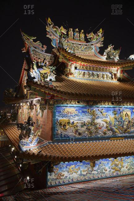Ciyou Temple in Taipei, Taiwan at night