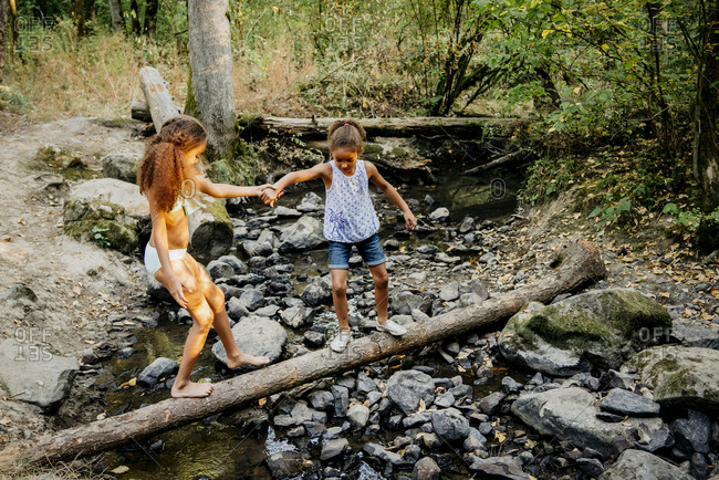 Mixed Race sisters holding hands on log over forest stream