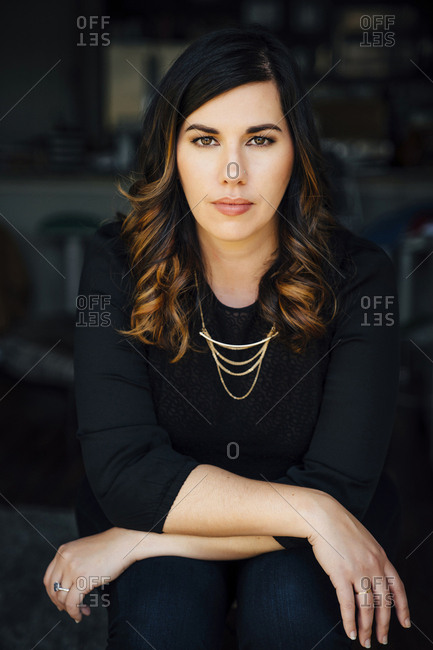 Portrait of serious Mixed Race woman