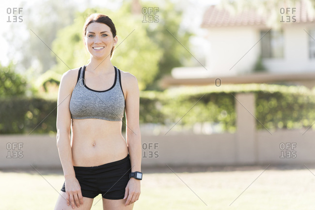 Portrait of smiling Caucasian woman runner