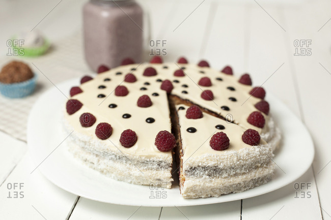 Cake decorated with raspberries
