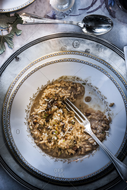 Fork in mushroom risotto