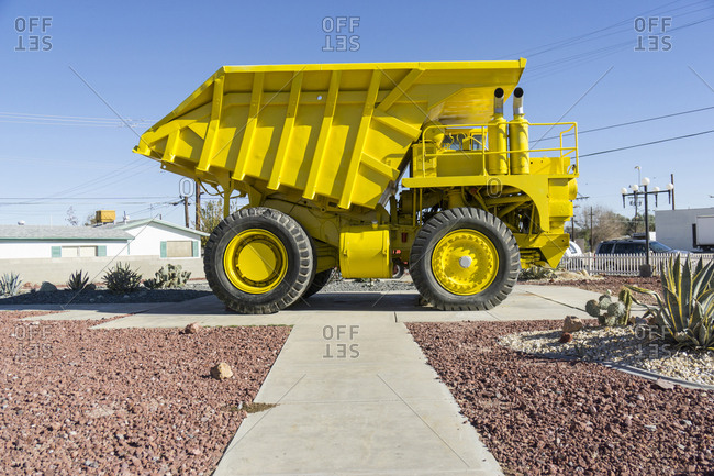 Large yellow dump truck