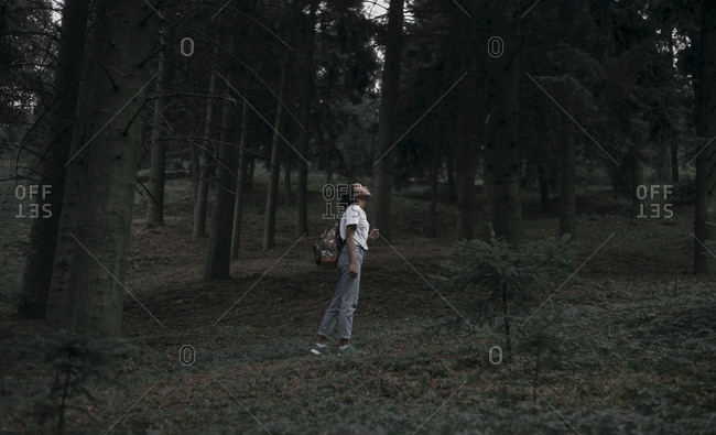 Black woman standing in forest looking up