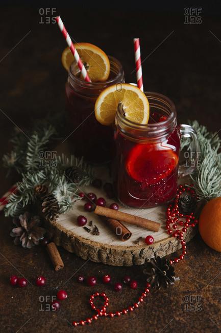 Fruit tea with cinnamon sticks
