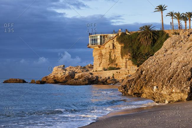 Spain- Andalusia- Costa del Sol- Nerja town- sunrise at Balcon de Europa on Mediterranean Sea