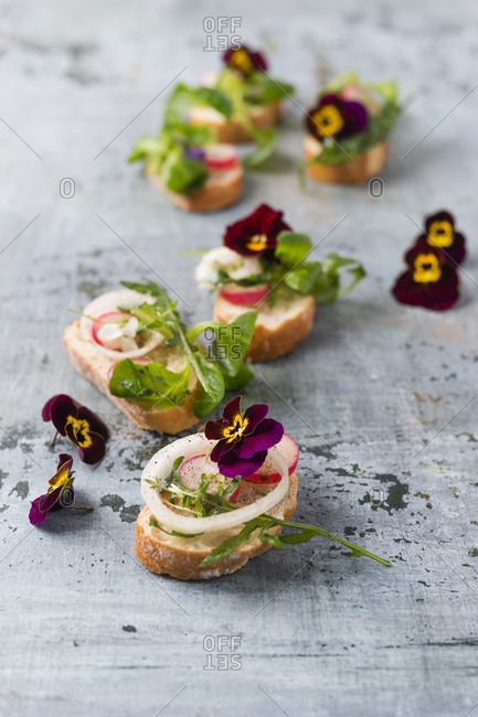 Slices of Baguette with rocket- lamb's lettuce- red radish- onion rings and edible Horned Violets