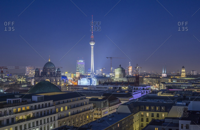 Germany, Berlin - December 30, 2016: Skyline with television tower at night