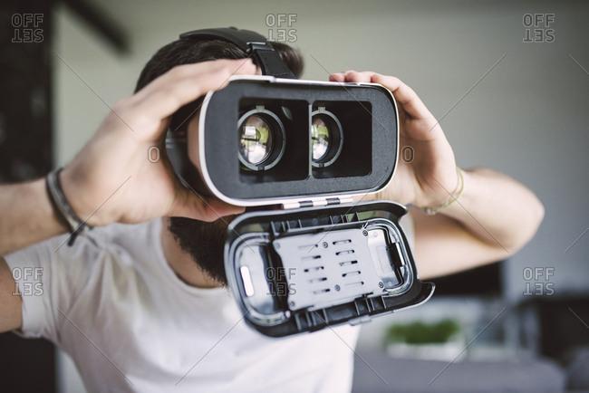 Man wearing virtual reality glasses