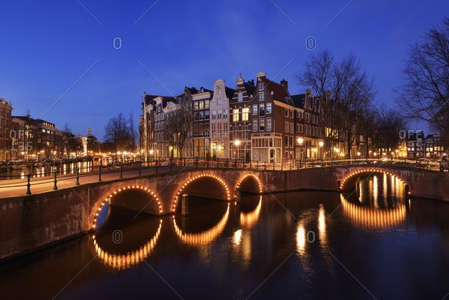 Netherlands- Amsterdam- Bridge over Keizersgracht and Leidsegracht