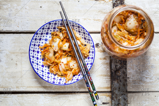 Homemade Korean Kimchi with Chinese cabbage- scallions and carrots