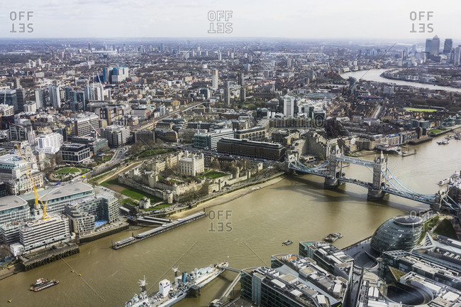 UK, London - March 17, 2017: River Thames and Tower Bridge