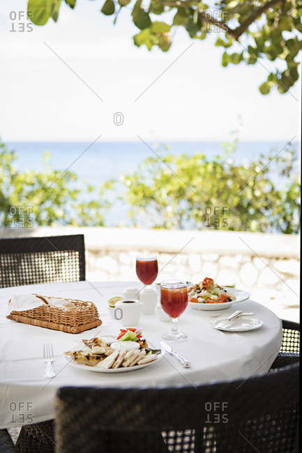 Lunch at dining table with water view