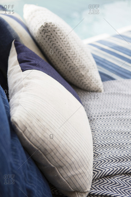 Blue patterned pillows and cushions