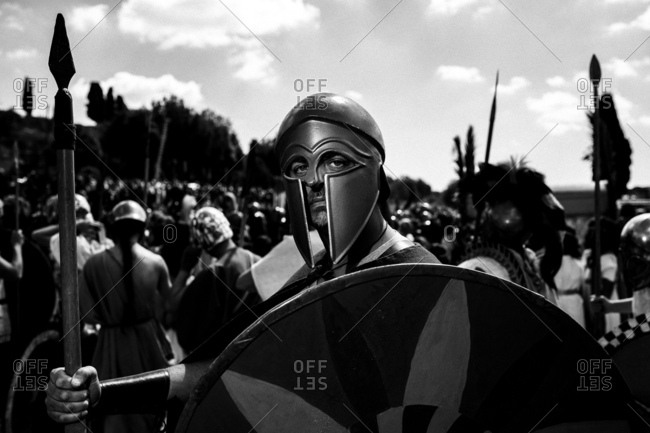 Rome, Italy - April 23, 2017: Man dressed up as a Roman soldier