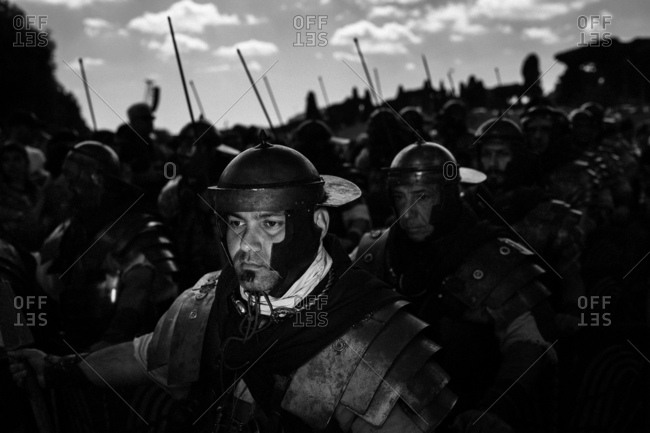 Rome, Italy - April 23, 2017: A group of men dressed as an army of Roman soldiers