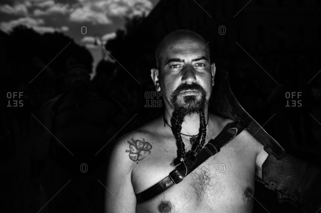 Rome, Italy - April 23, 2017: Portrait of a man in ancient Roman costume