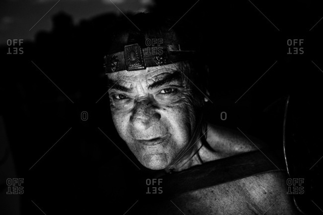 Rome, Italy - April 23, 2017: Portrait of a man dressed as a person from ancient Rome