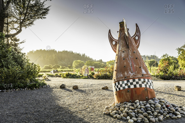 Healdsburg, California - January 8, 2015: A spaceship sculpture installed at a vineyard property