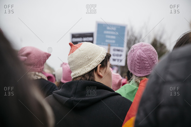 Washington, DC - January 21, 2017: Women in pink toboggans at the Women's March
